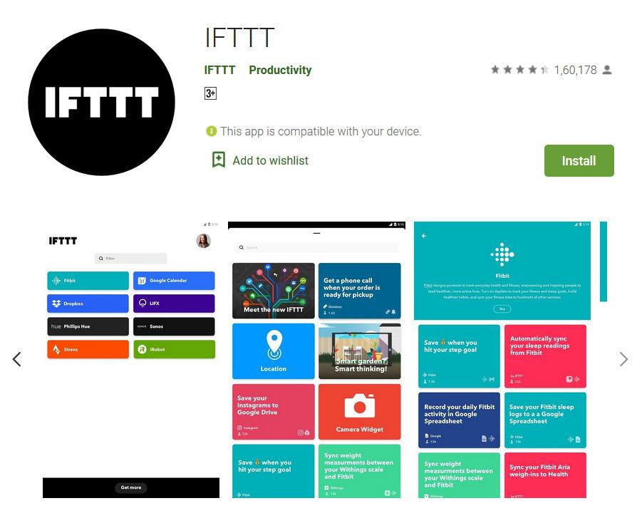 IFTTT app in playstore