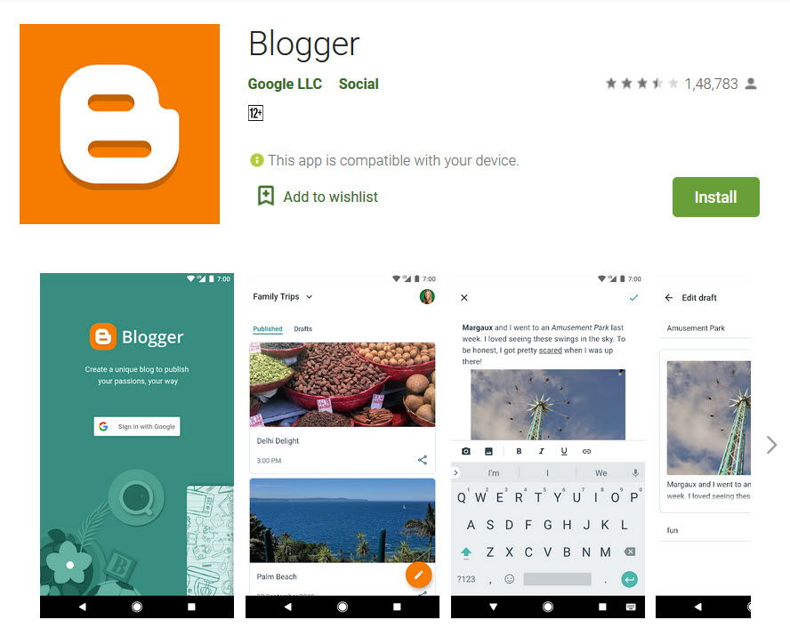 Blogger app in playstore