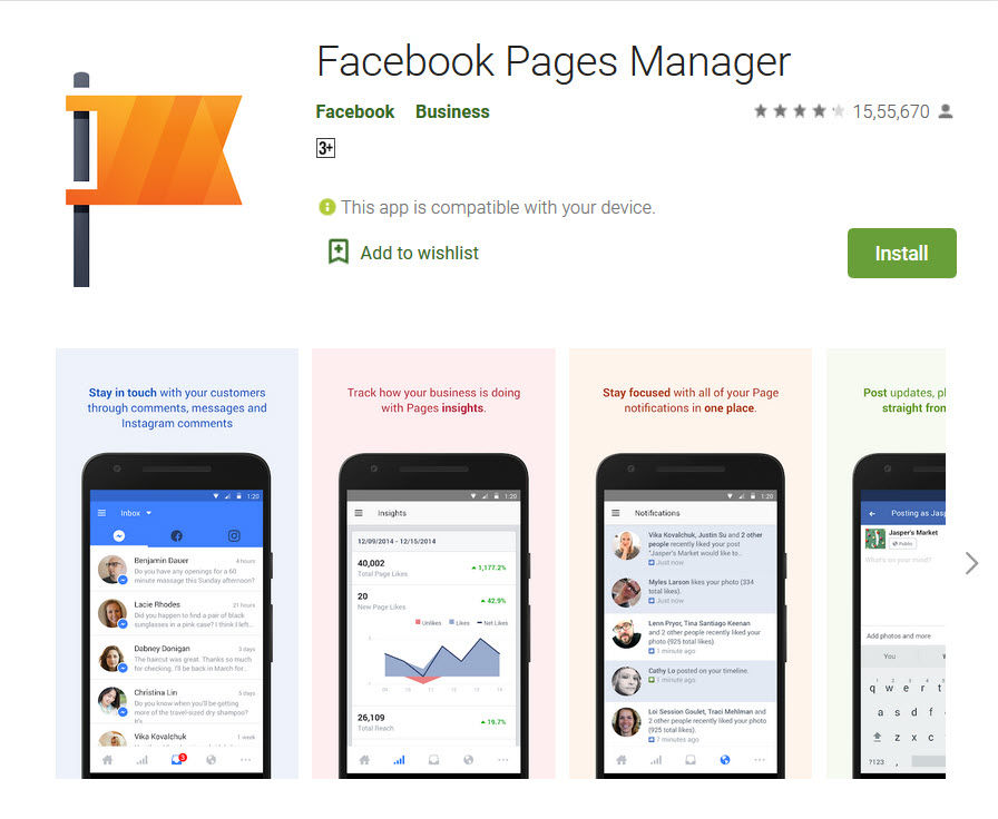 facebook Page Manager app in playstore