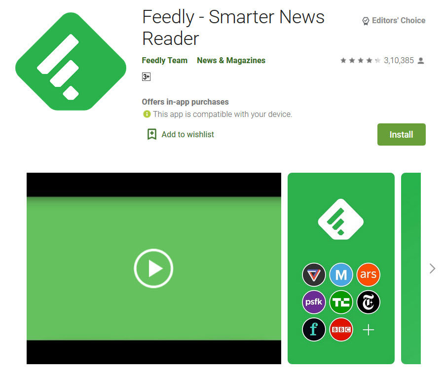 Feedly app in playstore
