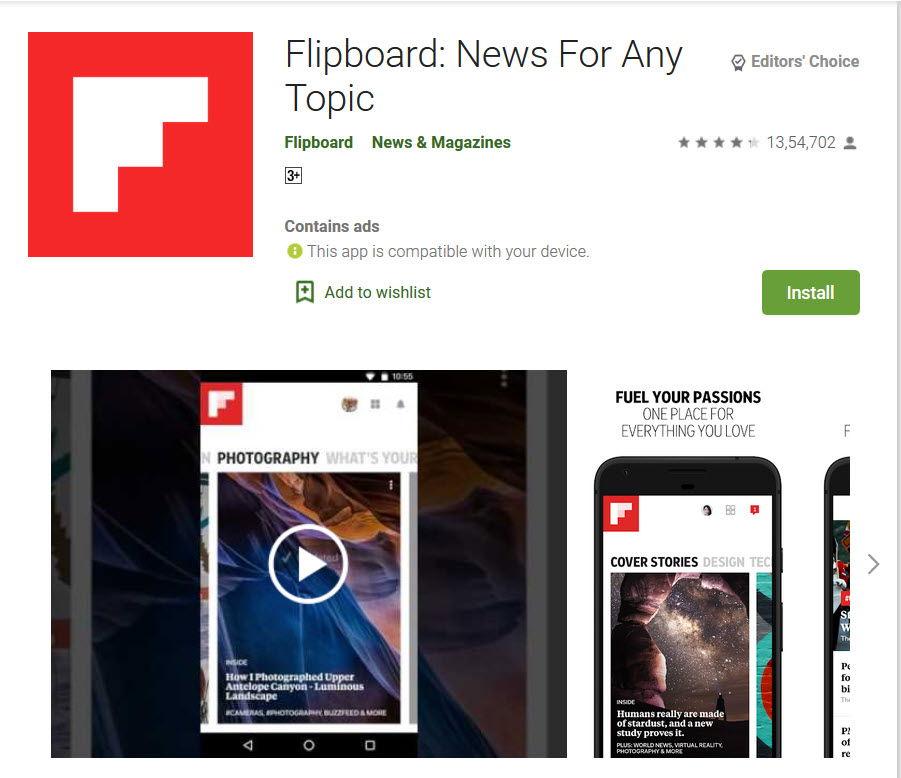 Flipboard app in playstore
