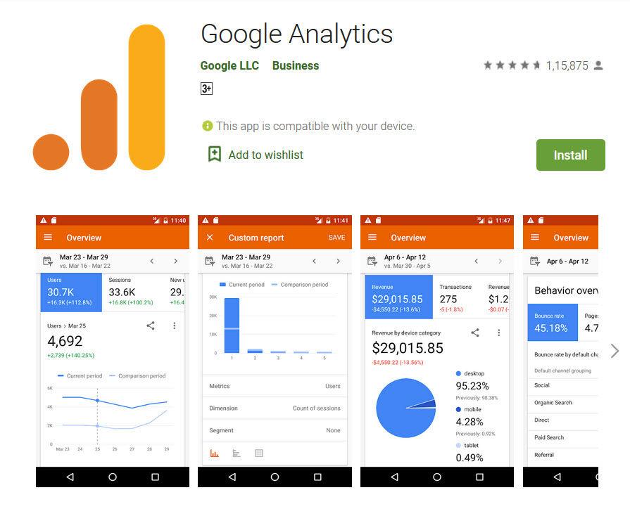 Google Analytics app in playstore