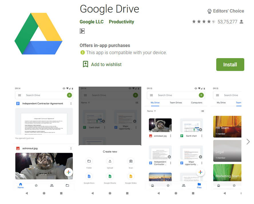 Google Drive app in playstore