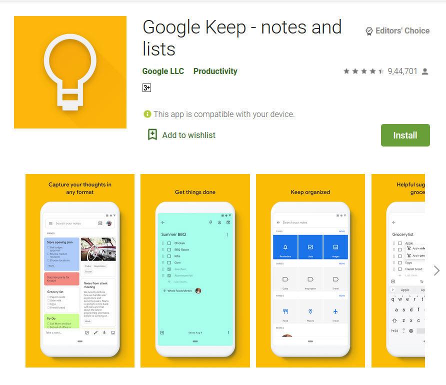 Google Keep app in playstore