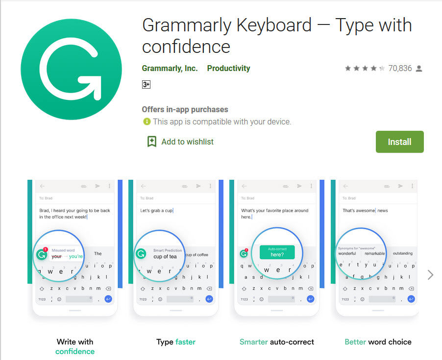 Grammerly app in playstore