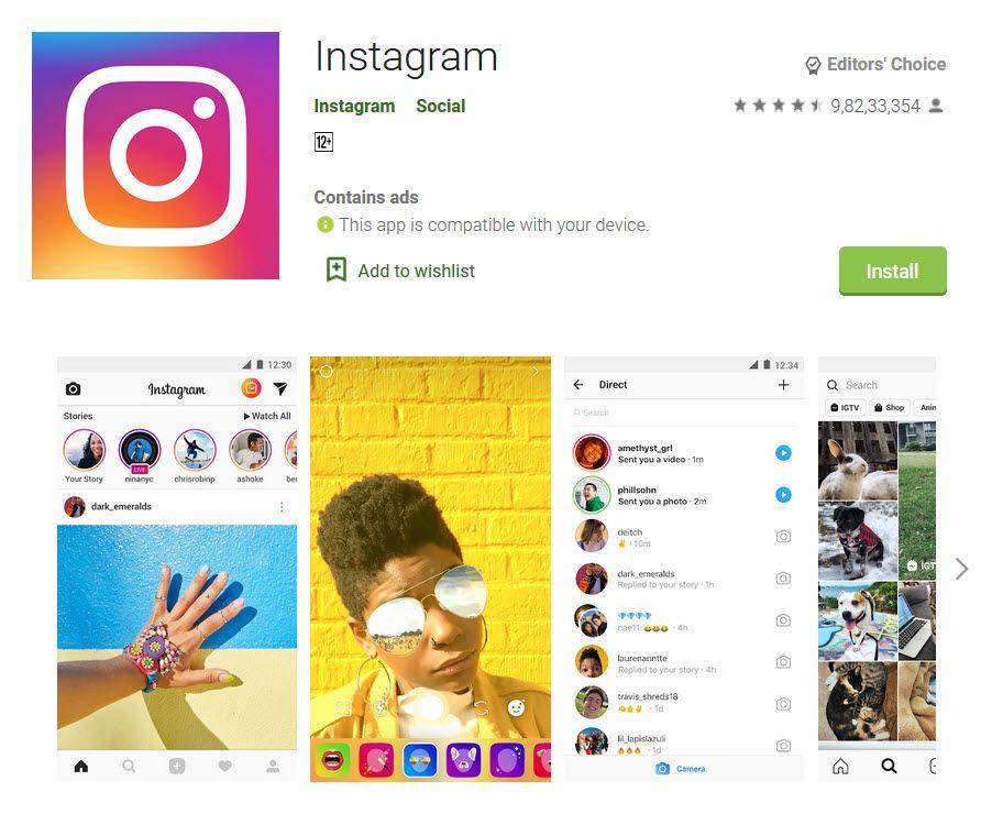 Instagram app in playstore