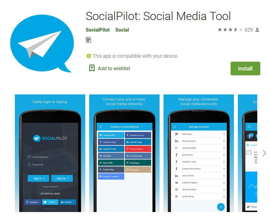Social Pilot app in playstore