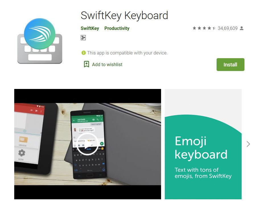 SwiftKey keyboard app in playstore