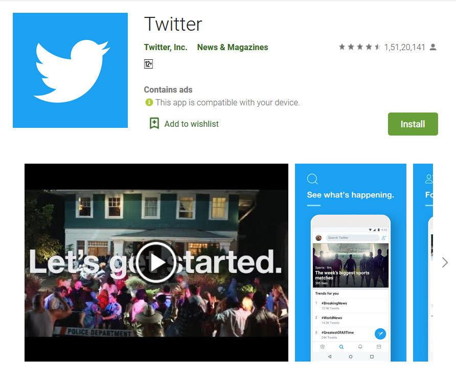 Twitter app in playstore