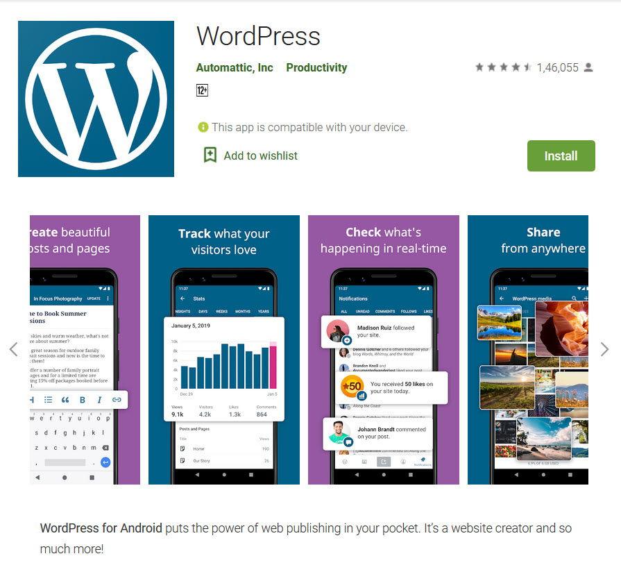 Wordpress app in Playstore