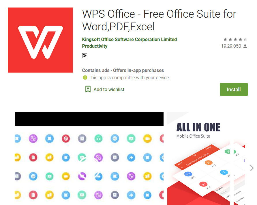 WPS Office app in playstore