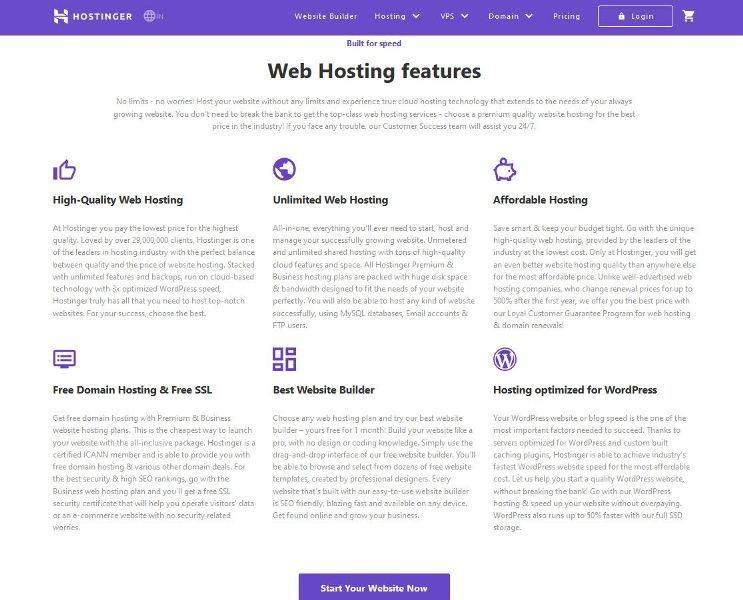 Hostinger features