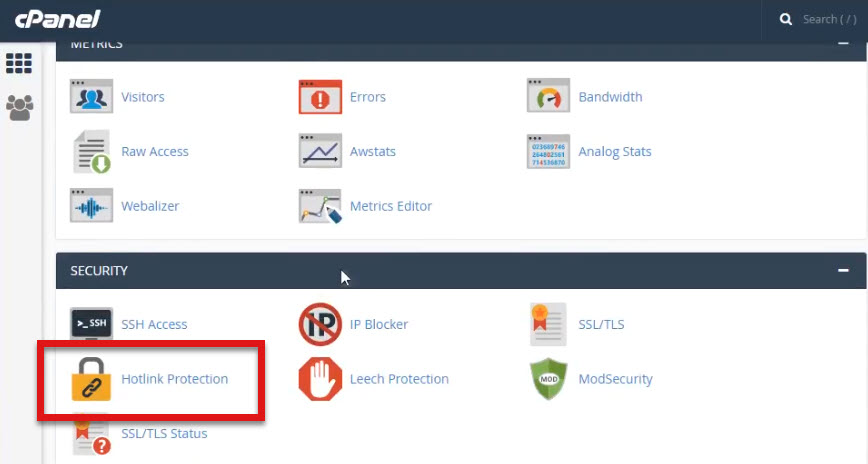 hotlink protection on cpanel